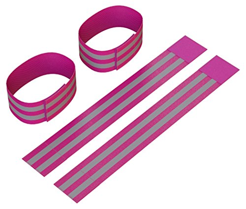 Reflective Ankle Bands (4 Bands/2 Pairs) | High Visibility and Safety for Jogging/Cycling/Walking etc | Works as Wristbands, Armband, Leg Straps | Accessories for Sports/Running Gear (Neon Pink)