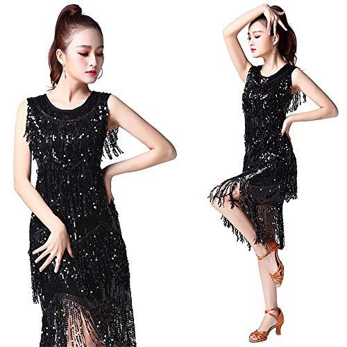 Bauchtanz Kleid Fransen Rhythmus Salsa Ballsaal Tango Wettbewerb Kostüm Swing Rumba Kleid Damentanzkostüm (Farbe : Schwarz, Größe : - Schwarz Tanz Wettbewerbs Kostüm