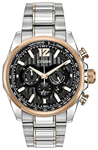 Citizen Watch SHADOWHAWK men's quartz Watch with black Dial chronograph Display and Two tone stainless steel plated Bracelet CA4176-55E