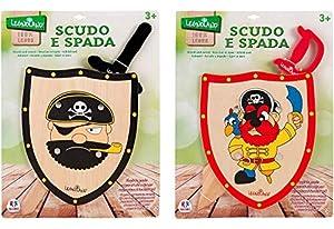 GLOBO- Pirate Playset W/Wooden Shield/Sword 2Asstd (37559),, Talla única (1)