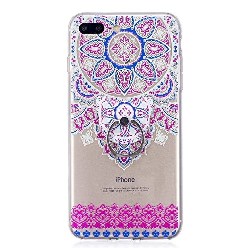 Cover per iPhone 8 Plus / iPhone 7 Plus Silicone Case , YIGA Moda Piume viola Cristallo Trasparente Cover Cassa Silicone Morbido TPU Case Caso Shell Protettiva Custodia per Apple iPhone 8 Plus / iPhon FD62
