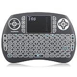 Zenoplige Mini Tastiera Wireless Keyboard 2.4GHz Layout ITALIANO Ergonomica Mouse Touchpad per Smart Android TV BOX, Mini PC, HTPC, Console, Computer, Colore NERO immagine
