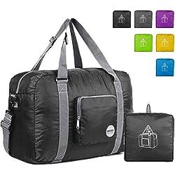 WANDF Foldable Travel Duffel Bag Sac de Voyage Pliable Sac de Sport Gym Résistant à l'eau Nylon (40L Noir)