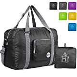 WANDF Foldable Travel Duffel Bag Super Lightweight for Luggage, Sports Gear or Gym Duffle, Water Resistant Nylon (40L Negro)