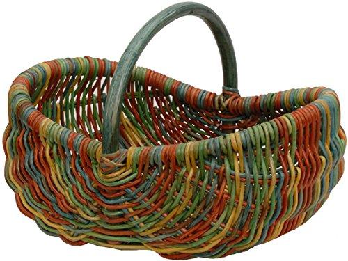 Einkaufskorb/Bügelkorb/Shopper aus echtem Rattan, Henkel- Trage-Korb leicht und stabil (Bunt (Rot, Blau, Grün, Gelb))