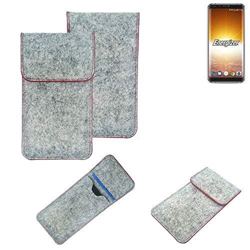 K-S-Trade® Filz Schutz Hülle Für Energizer P600S Schutzhülle Filztasche Pouch Tasche Case Sleeve Handyhülle Filzhülle Hellgrau Roter Rand