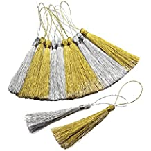 Sharplace 30 Pieces 80mm Rayon Silk Tassel Gold & Silver Chinese Knot Cotton Craft Tassels For DIY Jewelry Making Earring Key Cushion Tassel