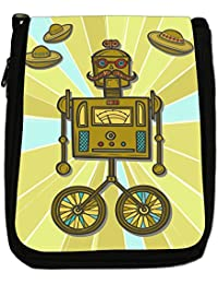 Retro Hipster Robots Medium Black Canvas Shoulder Bag - Size Medium