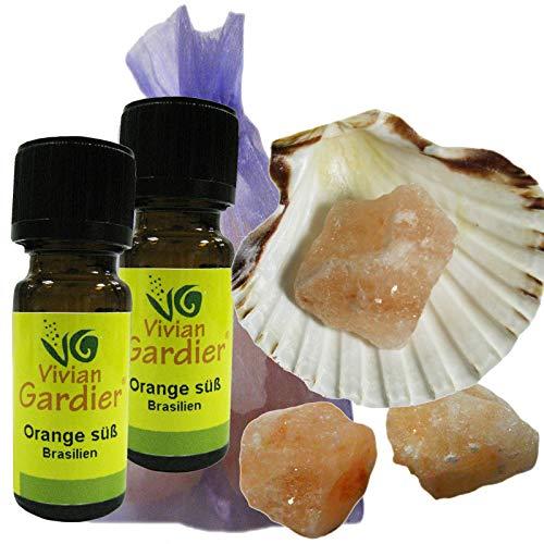 Orange süß Öl ätherisch + NATURREIN 2 x 10ml von VIVIAN GARDIER aus kontrolliertem Anbau #50001 | 7-teiliges Aromatherapie Duft-Set mit Muschel, 3 x Sole-Kristalle zum Beduften, Duftsäckchen. -