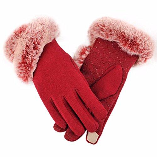 Handschuhe Damen Longra Luxuriöse Frauen Mädchen PU Leder Handschuhe Winter Warm Driving Soft Futter Handschuhe mit Künstlich Pelz (Red) (Reiten-handschuh)