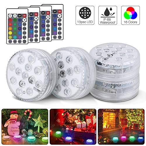 Unterwasser Licht, 13 LED Multi Farbwechsel wasserdichte LED Leuchten, Aktualisierte Version Pool Licht für Vase Base Party Hochzeit Aquarium Teich Schwimmbad Halloween Weihnachten - 4 Stück