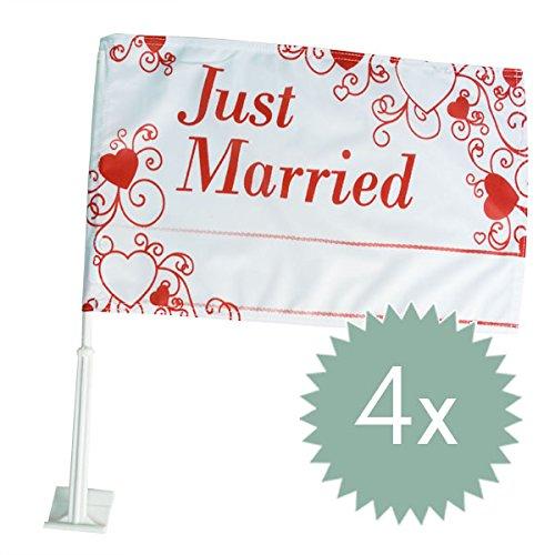 Autoflagge Hochzeit, rot mit Herzen, Just Married, Fahne für die Autodeko, Auto Flaggen personalisierbar mit Namen, 4 er Set