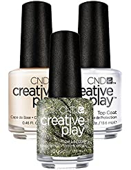 CND Creative Play Olive for Moment Nr. 433 13,5 ml mit Creative Play Base Coat 13,5 ml und Top Coat 13,5 ml, 1er Pack (1 x 0.041 l)