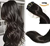 Clip In Hair Extensions Human Hair New Version Thickened Double Weft 120g 8pcs Per Set 7A Remy Hair Natural Black Full Head Silky Straight 100% Human Hair Clip In Extensions(14 Inch #1B)