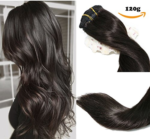 Clip In Hair Extensions Human Hair New Version Thickened Double Weft 120g 8pcs Per Set 7A Remy Hair Natural Black Full Head Silky Straight 100% Human Hair Clip In Extensions(14 Inch #1B) (14 Zoll Ziel)