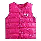 Kobay Kinder Baby Mädchen Jungen Ärmellos Cartoon Brief Drucken Reißverschluss Warme Jacke Weste Outwear(12-18M,Hot Pink)