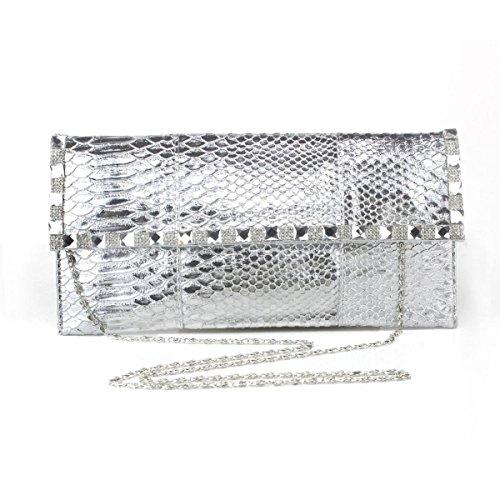 Busta Tempestato Di Diamanti Signora Brillante Bag Ladies Cena Silver