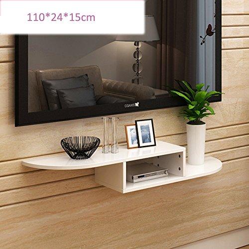 FEI Rack Wall Mount Regal für DVD-Komponenten, Set-Top-Boxen, Kabel-Boxen, Streaming-Geräte und DVRs mit schwarzem Glas Regal (Farbe : Weiß, größe : 110 * 24 * 15cm) (Dvr-regale)