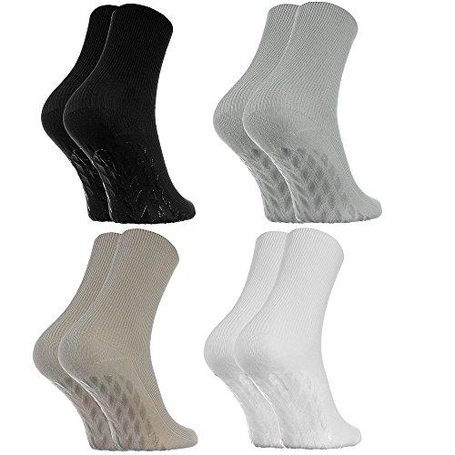 4 Paar Anti-Rutsch Socken ohne Gummibund für Geschwollene Füße, Stoppersocken ABS System Für Diabetiker und Krampfader, Größen 44-46 Schwarz Weiß, Bequem und Zart, Zertifikat Öko-Tex, made in Europa