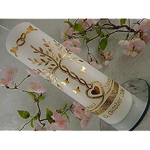 Hochzeitskerze Traukerze Lebensbaum Herz Schmetterlinge Tauben gold 250/70 mm inkl. Beschriftung