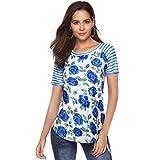 Zegeey Damen Sommer T-Shirt Rundhals Kurzarm Tops Rundkragen Blumen Drucken Streifen Lose Stretch Shirt Soft Oberteile Crop Tops (Blau,S)