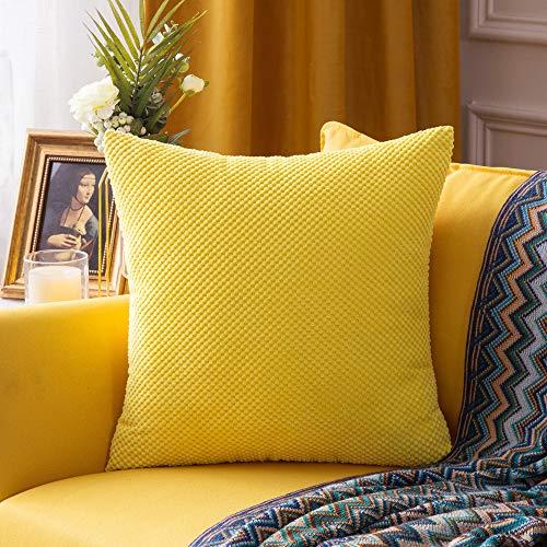 MIULEE 1 Stück Granulat Kissenbezug Ananas Weiches Massiv Dekorativen Quadratisch Überwurf Kissenbezüge Kissen für Sofa Schlafzimmer Auto 24