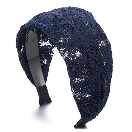COOLSTEELANDBEYOND Hipster Schick Mode Breiten Breitseite Blau Blumen Spitze Haarreif Haarkranz Stirnband Kopfband Haarband