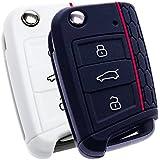BluePony - Funda para llave de coche (compatible con Seat León 5F, SC, ST, 2 unidades), color negro y blanco