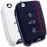 BluePony - Funda para llave de coche, color negro y blanco