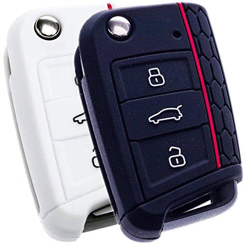 bluepony-funda-para-llave-de-coche-compatible-con-seat-leon-5f-sc-st-2-unidades-color-negro-y-blanco