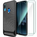 AROYI Coque Samsung Galaxy A40+[Lot de 2] Verre trempé Écran Protecteur, Coque Samsung Galaxy A40 Silicone TPU Bumper...