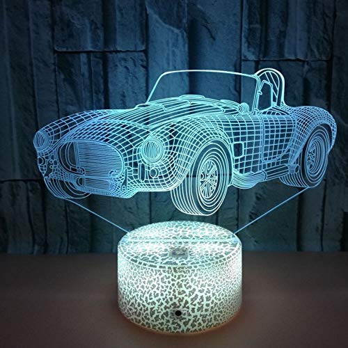 CPDZ Auto Sportiva 3D LED Night Light 7 Colori USB Alimentato Touch Switch Remote Control per Kids Desk Decor
