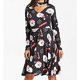 Kanpola Weihnachten Damen Kleider Elegant Drucken Swing Kleid Vintage Rockabilly Festlich Partykleid Weihnachtskleid