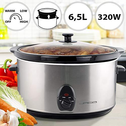 Pentola a cottura lenta | elettrica, 6,5 litri, 320 w, acciaio inossidabile, ciotola in ceramica | slow cooker, fornello lento