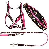 Ein Set - Halsband, Hundegeschirr Step-In, Hundeleine - verstellbar, Zugentlastung, stabil, bequem, weich, Farbe Rosa - TX-ZOO/Za-PINK