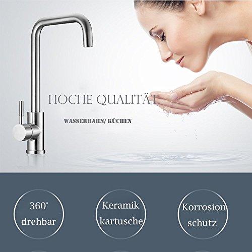 Homelody 360° drehbar Wasserhahn Küche Einhebelmischer Spültisch Armatur Küchenarmatur Spültischarmatur Spülbecken Wasserkran Mischbatterie Spüle für Küchen - 2