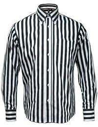 Relco - Chemise � manches longues - motif rayures - mod/r�tro/1960 - blanc/noir