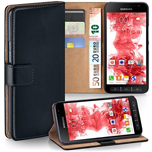 moex Samsung Galaxy Xcover 4 | Hülle Schwarz mit Karten-Fach 360° Book Klapp-Hülle Handytasche Kunst-Leder Handyhülle für Samsung Galaxy Xcover 4 Case Flip Cover Schutzhülle Tasche