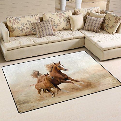 coosun Baby Pferd und seine Mutter Bereich Teppich Teppich rutschfeste Fußmatte Fußmatten für Wohnzimmer Schlafzimmer 78,7x 50,8cm, Textil, multi, 31 x 20 inch -