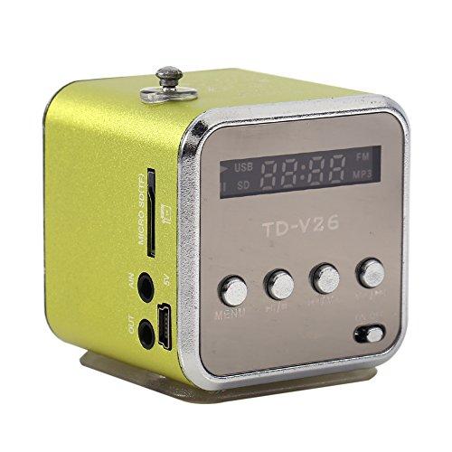 Mini Lautsprecher, Tragbarer FM Radio Musik Player, Stereo Lautsprecher mit PC Fashion Support TF Antenne und U Disk(Grün) 04 Auto-stereo-subwoofer