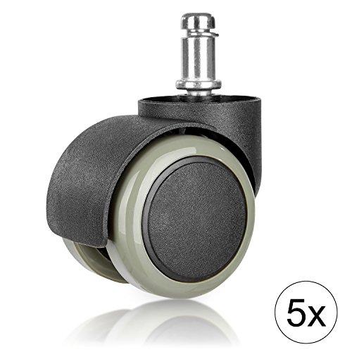 WINTEX Bürostuhlrollen (5 Stück) für harte Böden 11 x 48 mm | 2 Jahre Zufriedenheitsgarantie | Hartbodenrollen, Drehstuhlrollen, Ersatzrollen für Bürostühle
