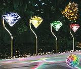 IG Solarleuchten 4er Set Farbwechsel mit Diamanteffekt- Projektion, inkl. Akku, Höhe ca. 29 cm. Solar, Leuchte, Lampe, Wegeleuchte, Wegbeleuchtung, Garten, Terrasse, Außenbeleuchtung, LED, Solar.