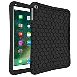 Fintie Silikon Hülle für iPad 9.7 Zoll 2018 2017 / iPad Air 2 / iPad Air - [Bienenstock Serie] Leichte Rutschfeste Stoßfeste Schutzhülle Tasche Case Cover, Schwarz