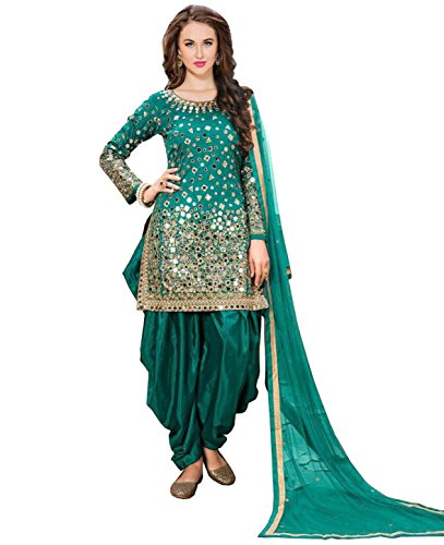 SareeShop Women\'s Turquoise Georgette Embroidery Gown Latest Party Wear Designe Straight Semi Stitched Free Size Salwar Suit Dress Material With Dupatta (Turquoise)