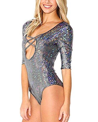 Donna Laser Paillettes Costume Intero Push up Bikini Swimsuit One-Piece Nero
