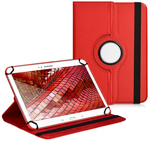 Premium Universal-Hülle für Tablet-PC Blaupunkt Endeavour 1000 QC 10 ZOLL mit DREHFUNKTION und HALTER / STÄNDER-FUNKTION Schutz-Case Flip-Tasche Cover Rot