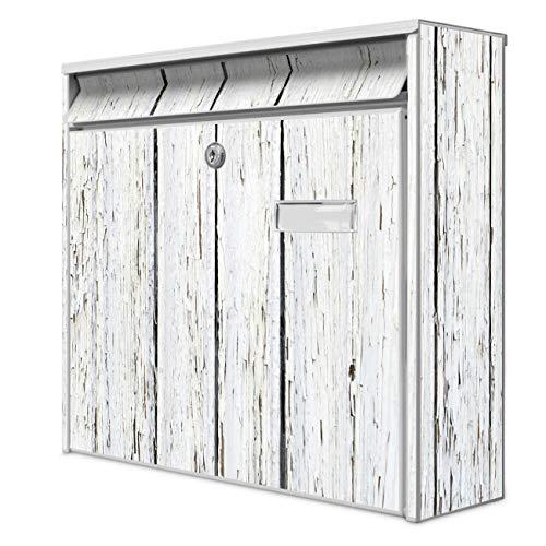 Burg Wächter Design Briefkasten | Postkasten 36 x 32 x 10cm groß | Stahl weiß verzinkt mit Namensschild | großer A4 Einwurf, 2 Schlüssel | Motiv Weißer Bretterzaun