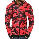 SEWORLD Sport Herren Mode Freizeit Oberteile Bluse Sommer Herbst Einzigartig Herren Winter Camouflage Reißverschluss Kapuzen Sweatshirt Outwear Tops Bluse(Rot,EU-50/CN-L)
