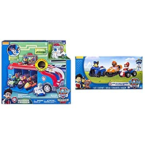 Spin Master Paw Patrol Mission Cruiser AUTOBUS, (6035961) + Paw Patrol - Racers Team Pack - Chase, Zuma & Ryder - Set 3 Mini Vehículos al Rescate La Patrulla Canina