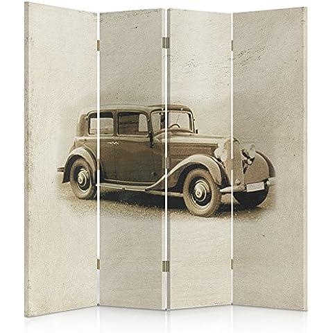 Feeby Frames Biombo impreso sobre lona, tabique decorativo para habitaciones, a una cara, de 4 piezas (145x180 cm), AUTOMÓVIL, COCHE, COSECHA, MERCEDES BENZ W143, SEPIA